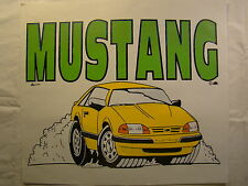 "MUSTANG Yellow 1980's 14"" X 12"" T Shirt Iron On Heat Thermal Transfer"