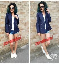 ZARA  NAVY BLUE DOUBLE BREASTED SHORT COAT WITH SIDE VENTS SIZE L