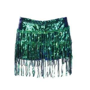 Green Sequin Shorts Festival Party Shirt With Under Shorts