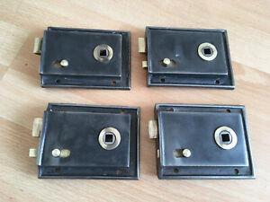 Set Of 4 Vintage 1920s Art Deco Cast Iron Rim Locks Original Brass Latch & Catch