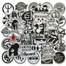 50Pcs Black White Rock Music Bands Stickers For Skateboard Luggage Laptop Guitar