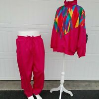 Jogging Track Suit Nylon Red Rainbow Women's Size 18W  Laura Katherine Vintage