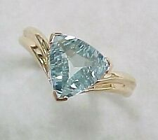 2Ct Trillion Aqua Blue Topaz Synt Diamond Solitaire Ring Yellow Gold Fns Silver