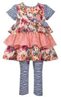Bonnie Jean Short Sleeve Floral Print Tiered Dress and Blue Striped Legging Set