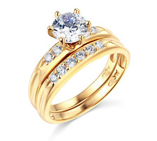 2.10 Ct Round Cut Engagement Wedding Ring Band 14k Yellow Gold