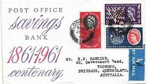 FDC 1961 Post Office Savings Set of  3 Stamps FDI addressed  to Australia