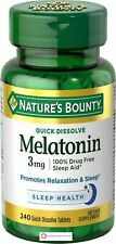 Nature's Bounty Melatonin 3 mg, 240 Quick Dissolve Tablets, relaxation and sleep