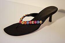 Vaneli Black Silk High Heel Sandals w/ Multi-Colored Button & Bead Embellishment