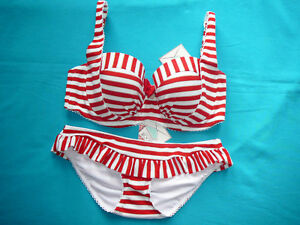 Floozie 32F bikini top & UK 10 frilled bottoms red Nautical Stripes BNWTS £46
