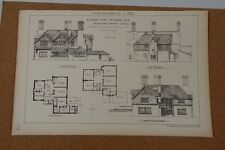 Antique architects print Design For A country Vicarage Building news 1883