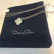 "Oscar De La Renta ""Signature Logo Flower"" Delicate Neckless Teal Blue, Authentic"