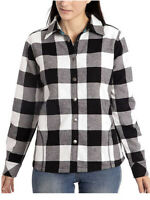 Orvis Womens Fleeced Lined Plaid Flannel Pinnacle Shirt Jacket MEDIUM BLACK NWT