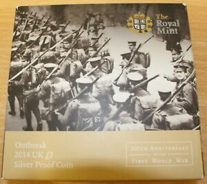 Royal Mint 2014 £2 Outbreak 1st World War Silver Proof Coin