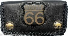 Route 66 Biker Wallet Chain Geldbörse 3D Kette Naked Leather Rockabilly Leder oi