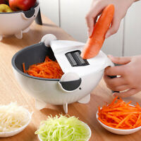 Manual Slicer Rotate Vegetable Cutter With Drain Basket Kitchen Veggie Shredder