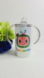 CocoMelon Inspired glitter Sippy Cup, Stainless Steel Tumbler, with 2 Lids