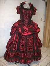 VICTORIAN bustle WINE blk lace DRESS sz 24