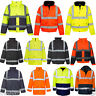 HI VIZ VIS JACKET HIGH VISIBILITY REFLECTIVE WATERPROOF WORKWEAR PADDED HOODED