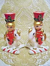 *SUPER RARE VTG* Lefton Christmas Soldier Rocking Horse Candle Holders w/ BOX