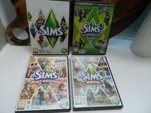 THE SIMS 3  GAME + 3 X EXPANSIONS (WORLD ADVENTURES/PETS/DESIGN HI TECH) PC DVD