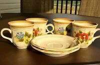 Mikasa Garden Club Basket of Wildflowers Set of 4 Tea, Coffee Cups & 2 Saucers