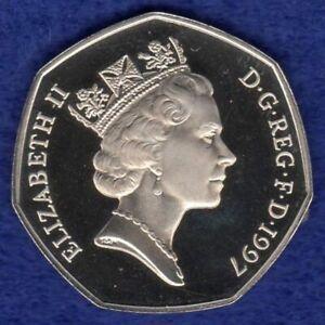 Great Britain, 1997 Proof 50p, 50 Pence Coin, Small, Britannia (Ref. tn670)