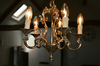 Bronze Vintage French Chandelier 5 Arm Light Fittings Bird Cage Pendant Light