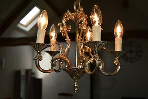 Bronze Vintage French Chandelier 5 Arm Light Fittings Bird Cage Pendant Light