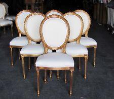 Etonnant Six Stunning Gilt French Louis XVI Dining Chairs Rosette Crest