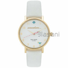 Kate Spade Original 1YRU0765 Women's 5 o'clock Metro White Leather Watch 34mm