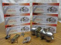 6 NEW Stainless Steel Keyed Entry Round Locking Door Knobs! Lever Handle Lockset