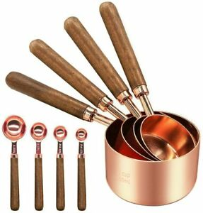 8PCS Rose Gold Stainless Copper Plateing Measuring Cups Spoon Kit Baking Tool