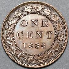 1886 Canada Victoria 1 Cent AU Britain Empire Coin (20100402R)
