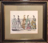 Antique Godey's Fashion Ad Framed September 1870