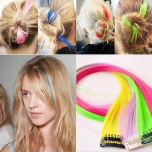 """New Funky Colourful Streak 22"""" Clip in Hair Extensions Range colours party Lot"""