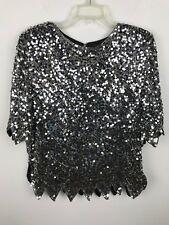 9b56f5fb1b0fe Vintage 1980s Silver Sequin Beaded Blouse Sz M L Halloween Disco Party  Short Slv