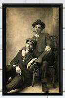 Vintage Photo Men Dudes Smoking Cigars Studio Portrait Antique Photo Print  5x7