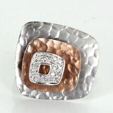 Square Diamond Cocktail Ring Estate 14k White Rose Gold Vintage Jewelry Fine
