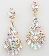 "2.75"" Long Bridal Rhinestone Crystal Gold AB Clear Aurora Borealis Earrings"