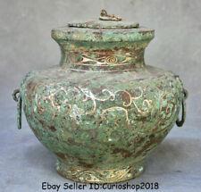 "New listing 8.4"" Old China Bronze Ware Silver Dynasty Palace Pot Jar Crock drinking vessel"