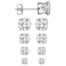 Sterling Silver Set of 4 Sizes .925  Round CZ Studs Earrings 3, 4, 5, 6, mm NEW