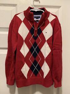 EUC Tommy Hilfiger Boy's size 7 Sweater Red White NAvy Blue Argyle Quarter Zip