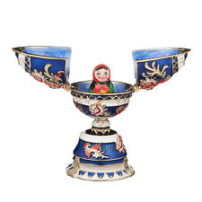 Russian Faberge Egg / Trinket Jewel Box with Matryoshka 3.3'' (8.3 cm) blue