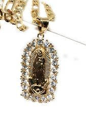 Simulated Cubic Zirc 26� Fígaro Chain Gold Plated Virgin Mary Pendant Necklace