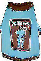 DOG CLOTHES SHIRT Dog Bless You Blue COTTON X SMALL 20cm dogs
