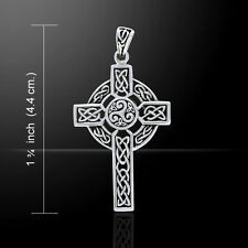 Celtic Triskele Cross .925 Sterling Silver Pendant by Peter Stone