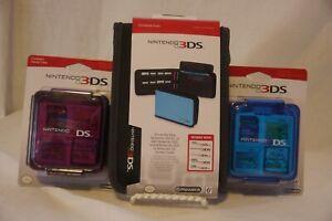 Power A Nintendo 3DS Folio Case Black & Compact Game Case Pink & Blue Bundle