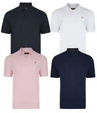 Farah Men's Cotton Polo Shirt Casual Top T-Shirt White Red Black Navy Blue Pink