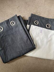 Next Denim Style Curtains 168 X 183 Cm Black Out Eyelet Curtains