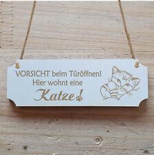 Schild « Hier wohnt eine Katze » Hinweis Hinweisschild Besucher Gäste Katzen Tür